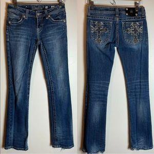 Miss Me Women's Jeans Size 28 Bootcut Bling Pockets Crosses Blue Denim Western